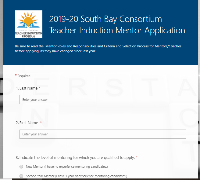image of Microsoft Form containing application for mentors