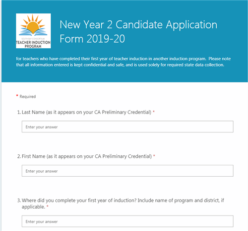 image of appllication for year 2 candidates new to this program